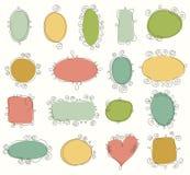 Collection of doodle frames. Set of hand drawn vintage frames. Vector design elements Stock Images