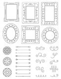 Doodle Frames and Elements. A collection of doodle frames, design elements and flourishes. Easy to edit Royalty Free Stock Image