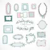 Collection of doodle frames for wedding Stock Photography