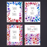 Collection of doodle greeting card templates. Set of doodle greeting card templates. For design of invitations to birthday, save the date, wedding, marriage Stock Photography