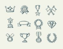 Collection of doodle handdrawn award icons Stock Images