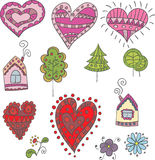 Collection of doodle hearts, trees, houses for design Royalty Free Stock Photography