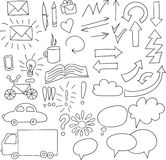 Collection of doodle infographics elements Stock Photos
