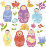 Collection of doodle matryoshka dolls and flowers Stock Image