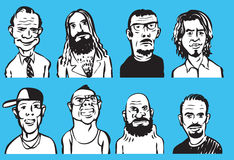 Collection of doodle men faces Royalty Free Stock Image