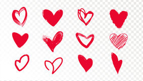 Collection of doodle red hearts on a transparent background. Royalty Free Stock Images