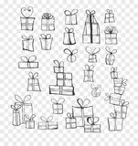 Collection of doodle sketch christmas gift boxes.  Royalty Free Stock Image