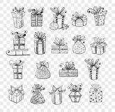 Collection of doodle sketch christmas gift boxes.  Royalty Free Stock Photography