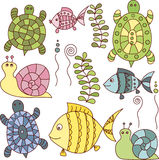 Collection of doodle turtles, fishes and snails Stock Photography
