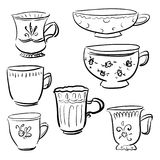 Collection Doodle vector different cups. Image for signs, illustration, icons vector illustration