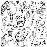 Christmas vector illustration. Collection of doodles cute winter elements. Hand drawn Christmas and New Year vector items. Design for prints, holidays  and Stock Photography