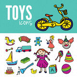 Collection of doodles toys Stock Photography