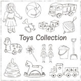 Collection of doodles toys. Vector illustration for design Royalty Free Stock Image