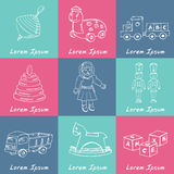 Collection of doodles toys. Vector illustration Stock Photo