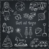 Collection of doodles toys. Vector illustration of toys for design Royalty Free Stock Photography