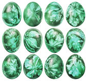 Collection Of Dozen Easter Eggs Dyed Emerald Green And Decorated With Weed Leaves Imprints Isolated On White Background. Collection of dozen beautiful, hand Royalty Free Stock Image