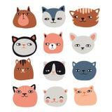 Collection drôle de chats illustration de vecteur