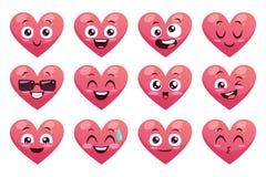 Collection drôle de coeurs d'Emoji Image libre de droits