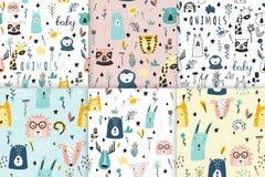 Collection drôle sans couture de modèles d'animaux de bébé de safari illustration libre de droits