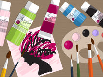 Collection of drawing tools and acrylic paints on the table. Vector Royalty Free Stock Images