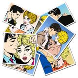 Collection of drawings of couples Stock Image