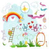 Collection of drawings Easter on a white background Stock Photos