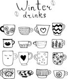 Collection of drawn cups of tea and coffee. Winter drinks. vector illustration