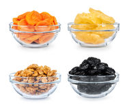 Collection of dried fruit in a glass bowl Royalty Free Stock Photo