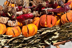 Collection of dried fruit, vegetables and spices Stock Photos