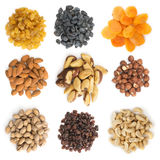 Collection of dried fruits and nuts Royalty Free Stock Images