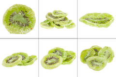 collection of dried kiwi fruit isolated on the white background Stock Photos