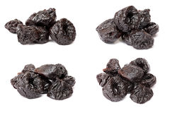 Collection of dried plum - prunes on a white backgroun Royalty Free Stock Images