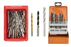 Collection of drills. Isolated on white stock images