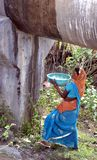 Collection drops, water crisis in Bhopal, India. A woman collecting water from a leakage or water pipe line in Bhopal, Madhya Pradesh, India Royalty Free Stock Image