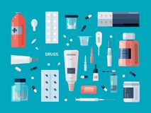 Collection of drugs, pills, medicines, syrups, mixtures, nasal drops, cough spray, medical tools  on blue. Background. Content of first aid kit. Colorful vector Royalty Free Stock Photo
