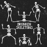Collection of drunken skeletons in different poses. Typography design Stock Images