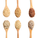 Collection of dry cereals on a wooden spoon, Clipping Path Royalty Free Stock Photos