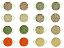 Collection of dry herbs spices Royalty Free Stock Images