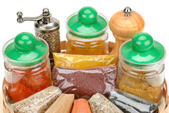 Collection dry spices. On a white background royalty free stock photography