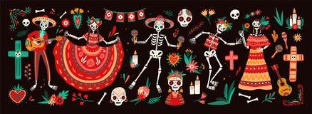 Collection du jour traditionnel des symboles morts - squelettes habillés dans des costumes mexicains folkloriques jouant la guita illustration de vecteur