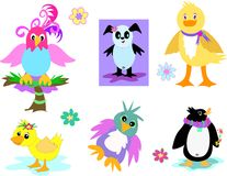 Collection of Ducks, Parrots, and Penguins Royalty Free Stock Image