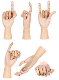 Collection of dummy wooden human hand gesture isolated Stock Images
