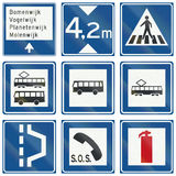 Collection of Dutch informational road signs Royalty Free Stock Photography