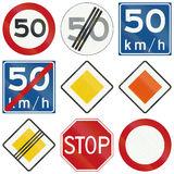 Collection of Dutch regulatory road signs Royalty Free Stock Photography