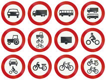 Collection of Dutch regulatory road signs.  Royalty Free Stock Images