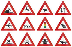 Collection of Dutch warning road signs Royalty Free Stock Image