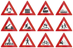 Collection of Dutch warning road signs Royalty Free Stock Photos