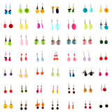 Collection of ear rings on white background Royalty Free Stock Images