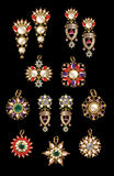 Collection of earring & pandant Royalty Free Stock Images