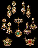 Collection of earring & pandant jewellery Royalty Free Stock Photography